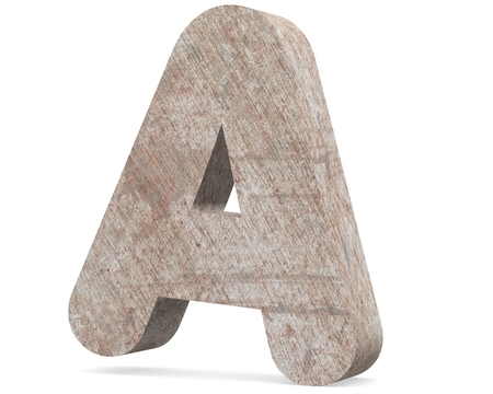 Conceptual old rusted metal capital letter -A, iron or steel industry piece isolated white background. Educative rusty material, aged vintage surface, worn damaged paint as 3D illustration rough surface