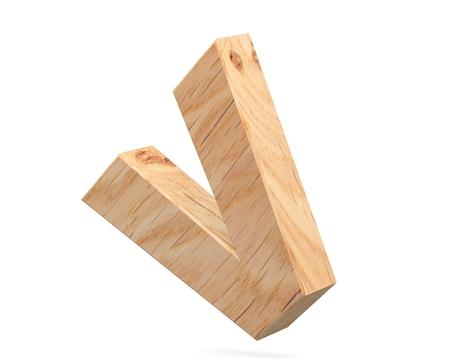 3D decorative wooden Alphabet, capital letter V