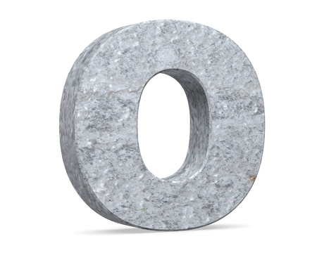 Concrete Capital Letter - O isolated on white background . 3D render Illustration