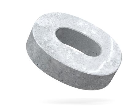 Concrete Capital Letter - O isolated on white background . 3D render Illustration