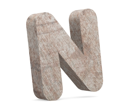 Conceptual old rusted metal capital letter -N, iron or steel industry piece isolated white background. Educative rusty material, aged vintage surface, worn damaged paint as 3D illustration rough surface