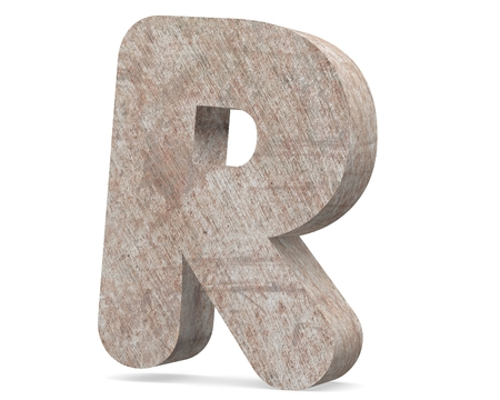 Conceptual old rusted metal capital letter -R, iron or steel industry piece isolated white background. Educative rusty material, aged vintage surface, worn damaged paint as 3D illustration rough surface Stock Photo
