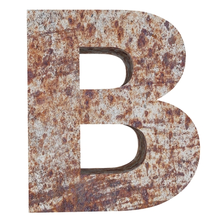Conceptual old rusted meta capital letter -B, iron or steel industry piece isolated white background. Educative rusty material, aged vintage surface, worn damaged paint as 3D illustration rough surface