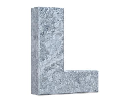 Concrete Capital Letter - L isolated on white background . 3D render Illustration Stok Fotoğraf