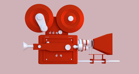 3D Illustration. Movie-cinema camera cartoon style.