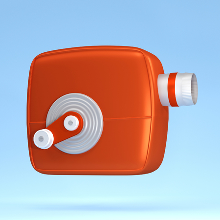 3d render Illustration. Movie-cinema camera cartoon style. Stock Photo