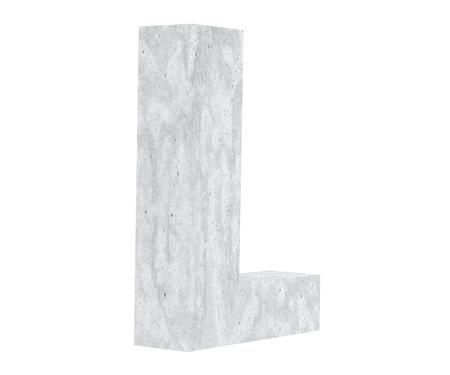Concrete Capital Letter - L isolated on white background. 3D render Illustration