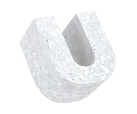 Concrete Capital Letter - U isolated on white background. 3D render Illustration Stockfoto