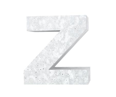 Concrete Capital Letter - Z isolated on white background. 3D render Illustration