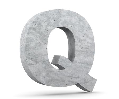 Concrete Capital Letter - Q isolated on white background. 3D render Illustration