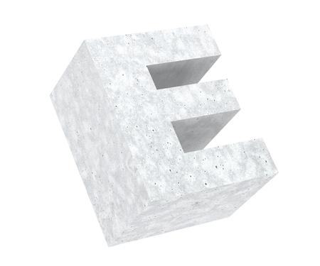 Concrete Capital Letter - E isolated on white background. 3D render Illustration Reklamní fotografie