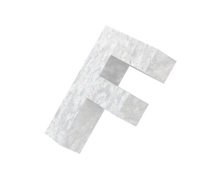 Concrete Capital Letter - F isolated on white background. 3D render Illustration
