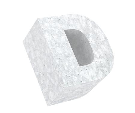 Concrete Capital Letter - D isolated on white background. 3D render Illustration Reklamní fotografie