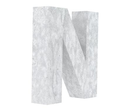 Concrete Capital Letter - N isolated on white background. 3D render Illustration Reklamní fotografie