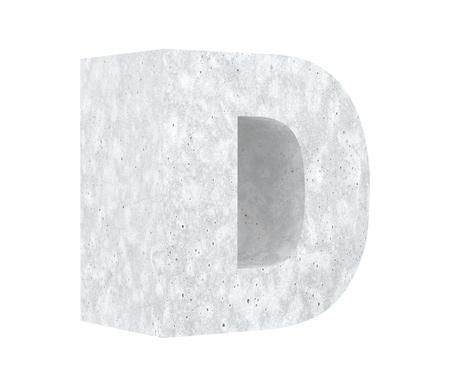 Concrete Capital Letter - D isolated on white background. 3D render Illustration Stockfoto