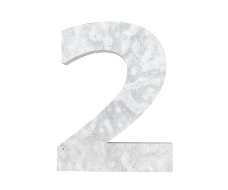 3D rendering concrete number 2 two. 3D render Illustration.
