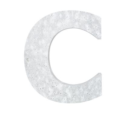 Concrete Capital Letter - C isolated on white background. 3D render Illustration Stockfoto