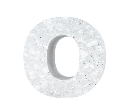 Concrete Capital Letter - O isolated on white background. 3D render Illustration