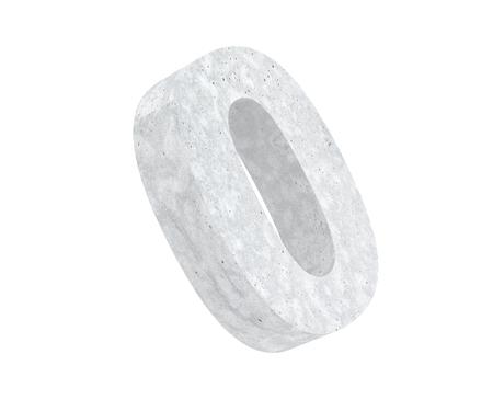 3D rendering concrete number 0 zero. 3D render Illustration. Stockfoto