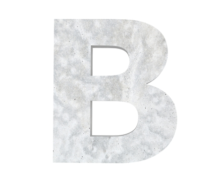 Concrete Capital Letter - B isolated on white background. 3D render Illustration