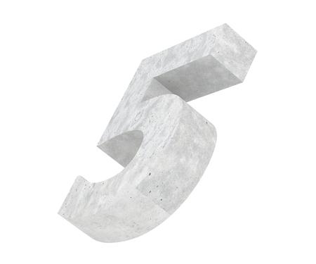 3D rendering concrete number 5 five. 3D render Illustration.