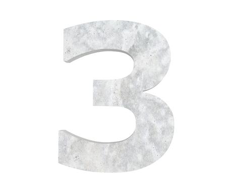3D rendering concrete number 3 three. 3D render Illustration. Stockfoto