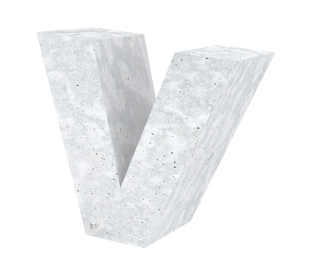 Concrete Capital Letter - V isolated on white background. 3D render Illustration