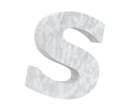 Concrete Capital Letter - S isolated on white background. 3D render Illustration Stockfoto