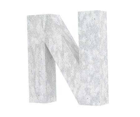 Concrete Capital Letter - N isolated on white background. 3D render Illustration Stockfoto