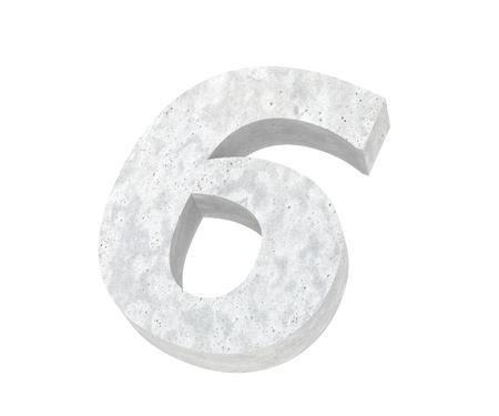3D rendering concrete number 6 six. 3D render Illustration.