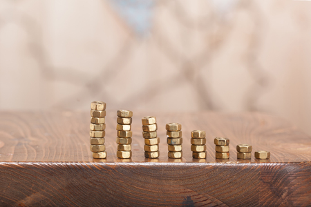 Graph of a Screw nuts. Growth concept. Stockfoto