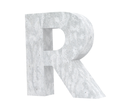 Concrete Capital Letter - R isolated on white background. 3D render Illustration Stockfoto