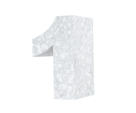 3D rendering concrete number 1 one. 3D render Illustration.