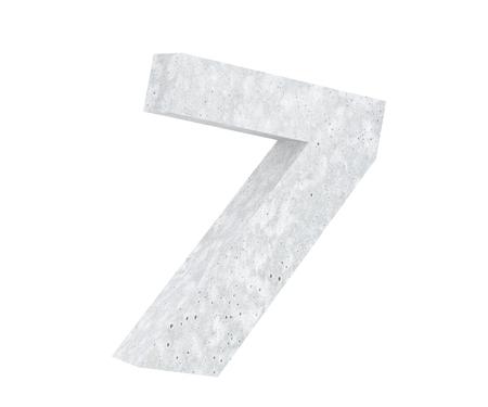3D rendering concrete number 7 seven. 3D render Illustration.