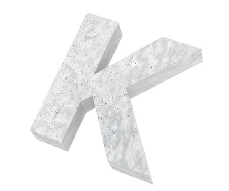Concrete Capital Letter - K isolated on white background. 3D render Illustration