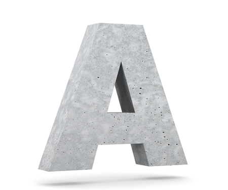 Concrete Capital Letter - A isolated on white background. 3D render Illustration Stockfoto