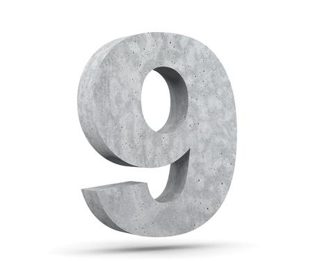 3D rendering concrete number 9 nine. 3D render Illustration.