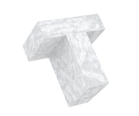 Concrete Capital Letter - T isolated on white background. 3D render Illustration