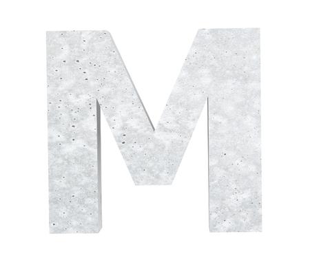 Concrete Capital Letter - M isolated on white background. 3D render Illustration Stockfoto