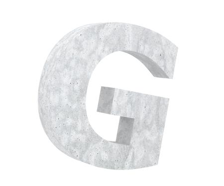 Concrete Capital Letter - G isolated on white background. 3D render Illustration Stockfoto