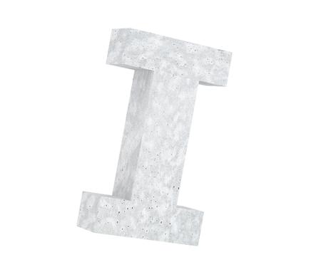 Concrete Capital Letter - I isolated on white background. 3D render Illustration Stockfoto