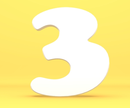 3d rendering illustration. White paper number 3 on yellow background.