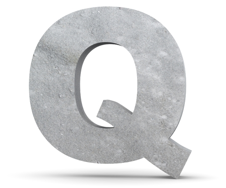 Concrete Capital Letter - Q isolated on white background. 3D render Illustration