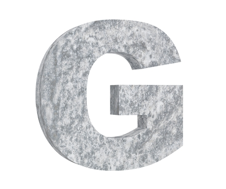 Concrete Capital Letter - G isolated on white background. 3D render Illustration 스톡 콘텐츠