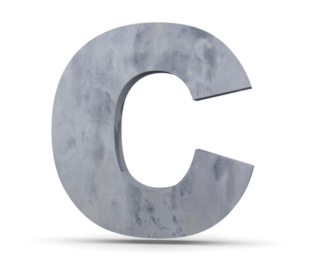 Concrete Capital Letter - C isolated on white background. 3D render Illustration Banco de Imagens