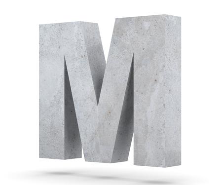 Concrete Capital Letter - M isolated on white background. 3D render Illustration Banco de Imagens