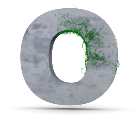 Concrete Capital Letter - O with vine grows, isolated on white background. 3D render Illustration