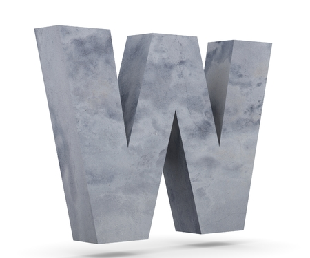 Concrete Capital Letter - W isolated on white background. 3D render Illustration