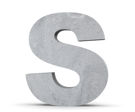 Concrete Capital Letter - S isolated on white background. 3D render Illustration Stockfoto
