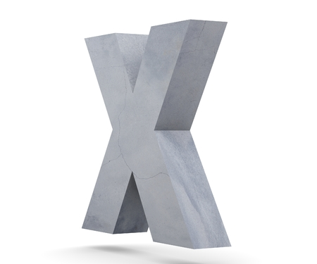 Concrete Capital Letter - X isolated on white background. 3D render Illustration